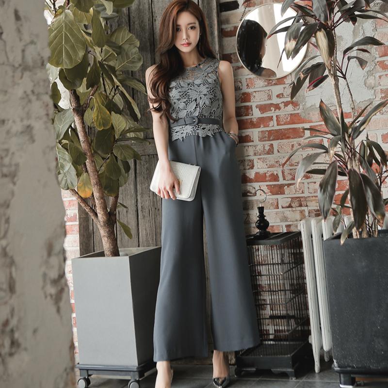 连体裤夏季女装2020流行新款修身显瘦无袖蕾丝高腰阔腿裤休闲长裤
