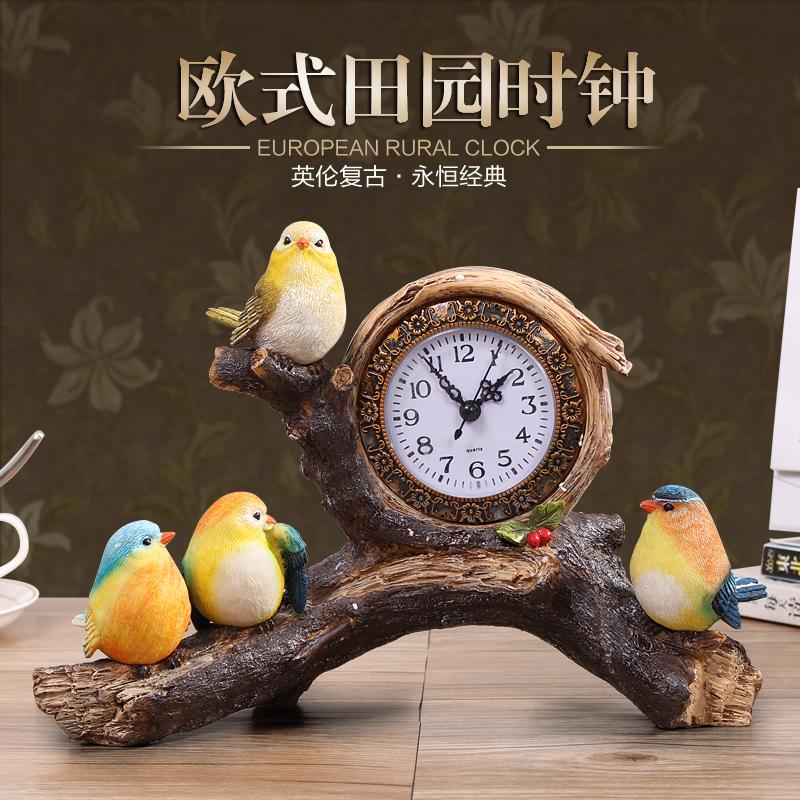 装饰家居时尚钟表座钟创意个性小鸟台钟客厅卧室床头静音时钟摆件 Изображение 1