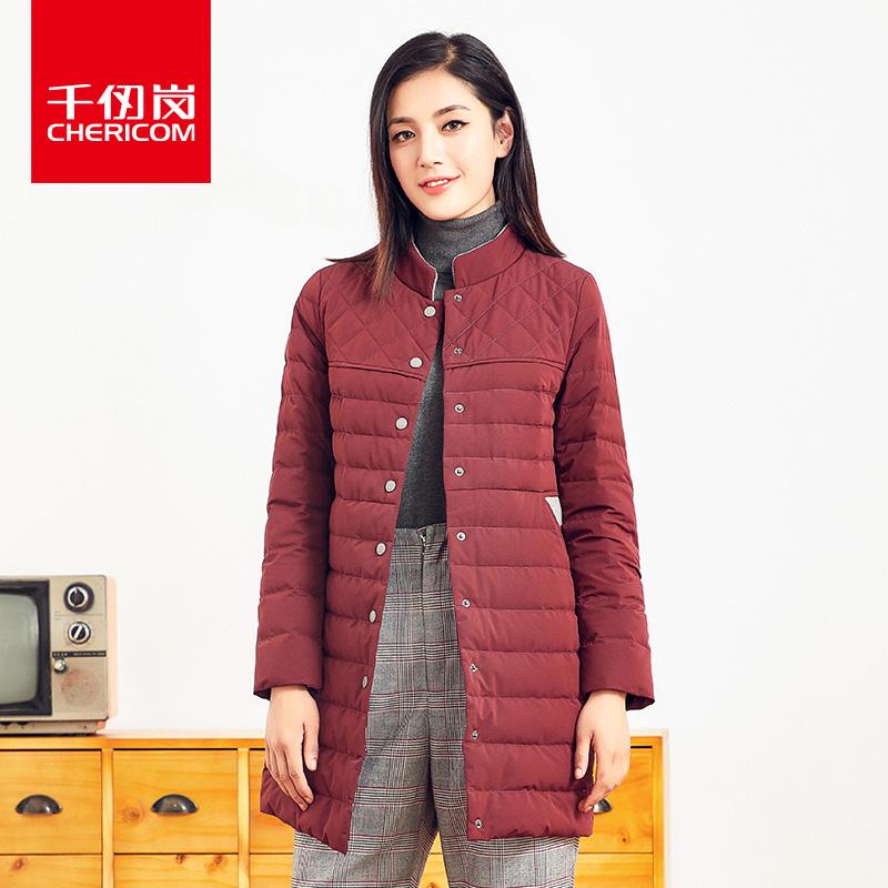 千仞岗羽绒服女2018新品中长款纯色简约轻薄立领羽绒服229021