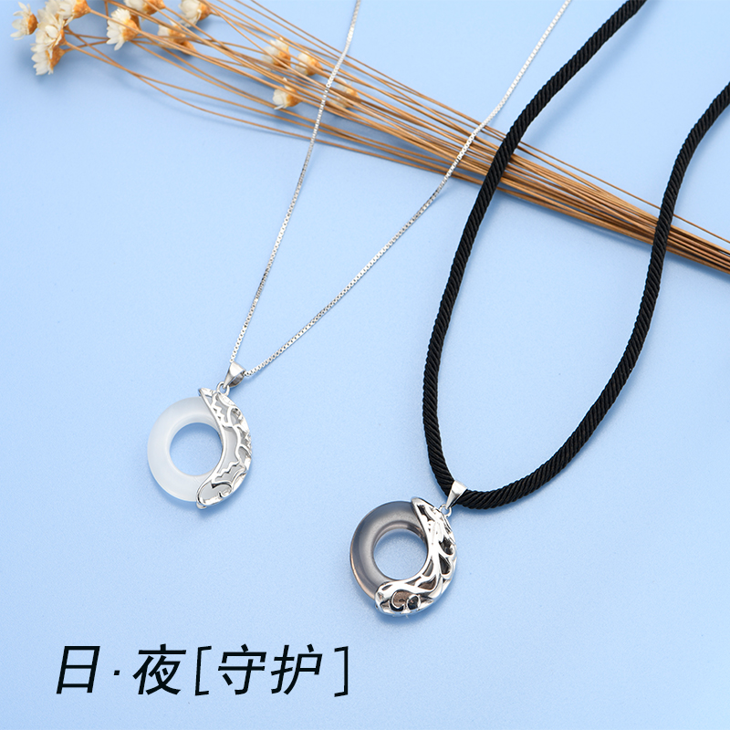 Sterling Silver Necklace female male couple a pair of pendants antique love Keepsake Mid Autumn Festival to give girlfriend Tanabata Valentines Day gift