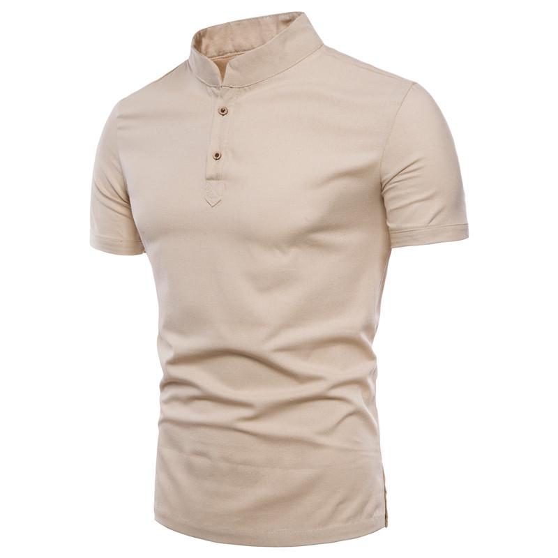 Men's Stand Collar Cotton T Shirt Camisa Polo Shirts男士T恤