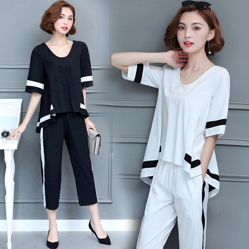 大碼套裝女夏裝時尚潮2019新款韓版胖妹妹夏裝女裝氣質兩件套