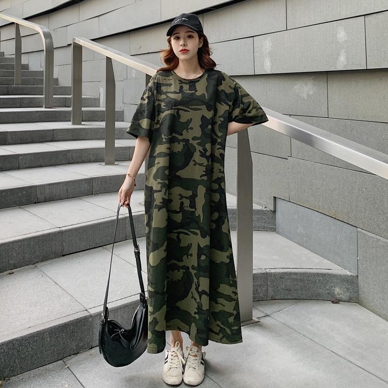 夏季韩版迷彩超长款大t恤女过膝宽松大码休闲懒人及踝连衣裙长裙