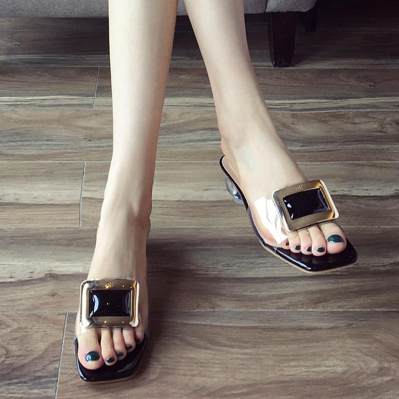 鞋遇透明凉鞋女2019新款百搭时尚网红仙女风中跟懒人一脚蹬凉拖潮