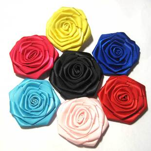 12 color ribbon corsage brooch F5 fabric rose flower size of about 6cm can build bulk
