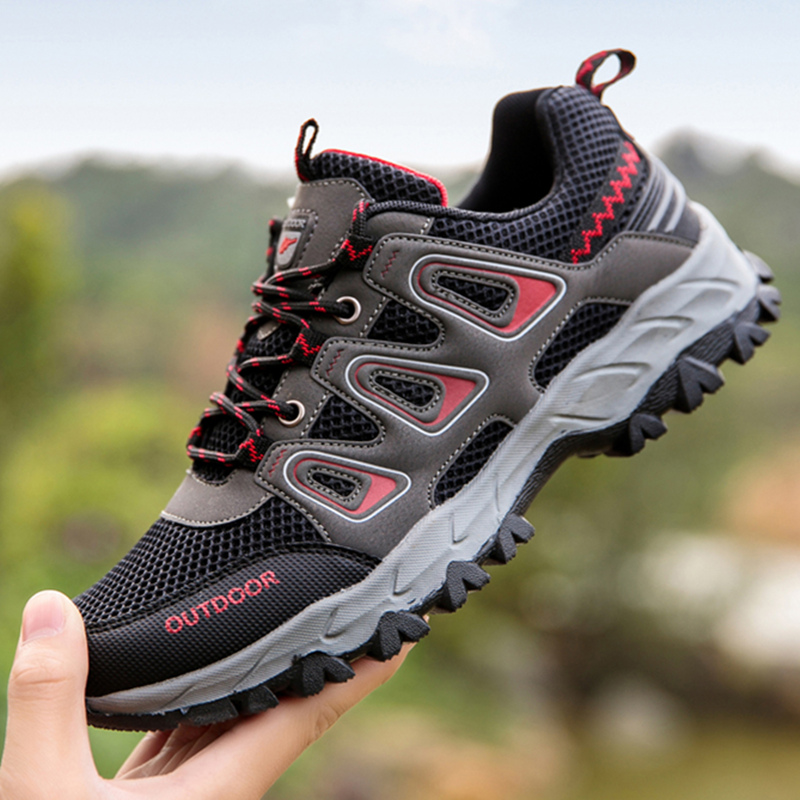 Autumn mountaineering shoes mens shoes mesh breathable outdoor shoes leisure hiking shoes anti slip wear-resistant portable travel shoes