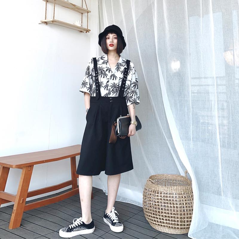 泡菜的店 夏季新款黑色背带裤女短款宽松学生减龄高腰显瘦五分裤