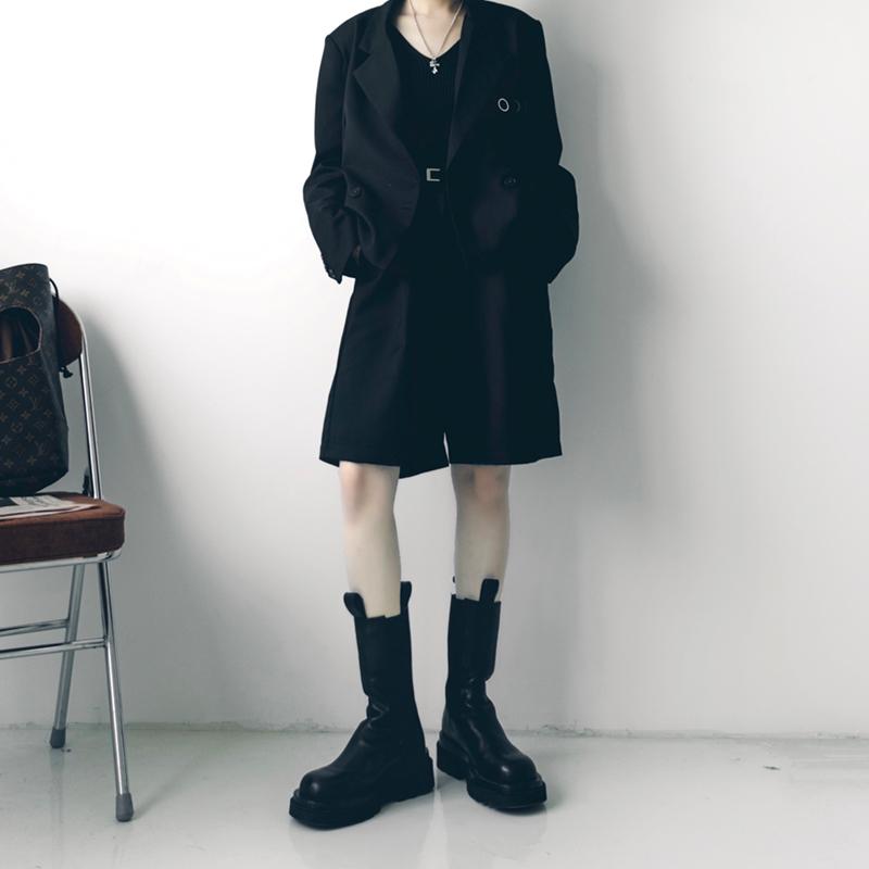 泡菜的店 黑色宽松显瘦薄款中性五分西装裤女 小个子高腰直筒短裤