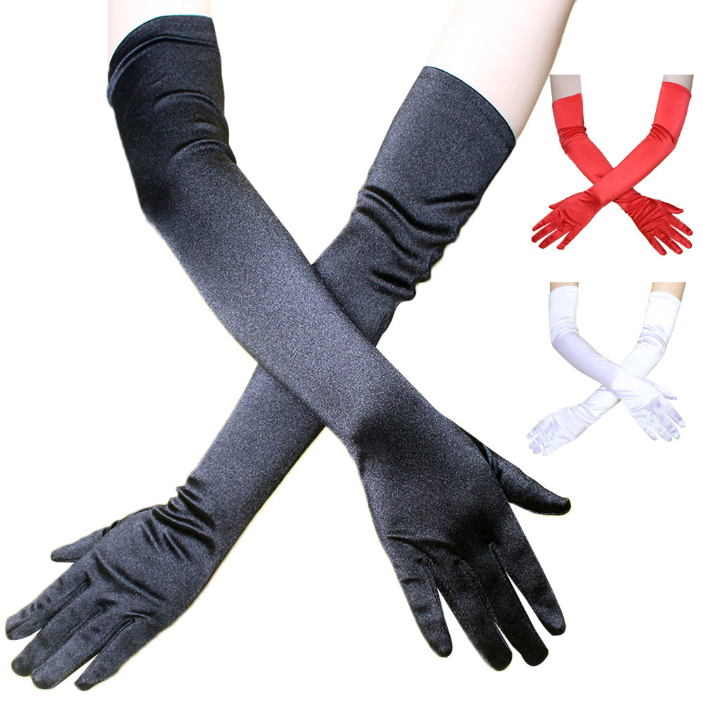 Extended Dress Satin tinted gloves womens wedding dinner dress with dance 54cm fashion gloves
