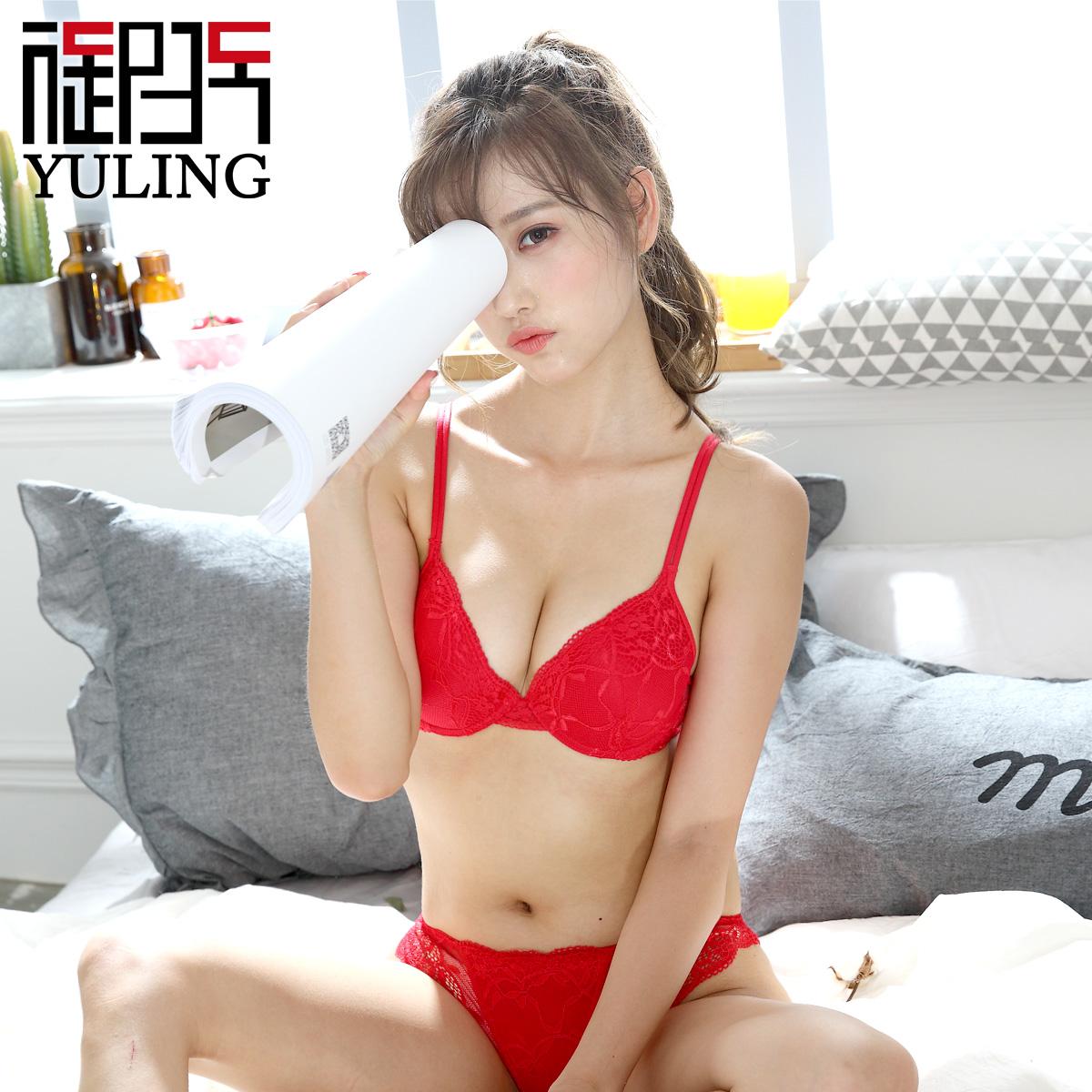 御玲春夏新品本命年红色系列 结婚内衣蕾丝性感聚拢文胸套装