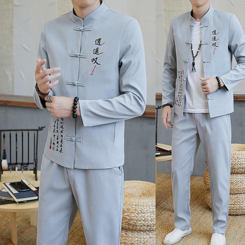 中国风唐装汉服中山服装中山装男青年修身套装伴郎服中式男装潮流(用90元券)