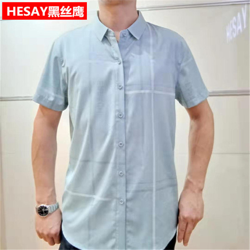 Middle aged mens Short Sleeve Shirt summer thin casual mens Square half sleeve shirt business black silk Eagle Mens top