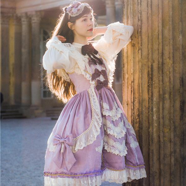 Final summer Temple angel jsk horsetail Beibei original fairy tale CLA retro Lolita solid color Lo skirt