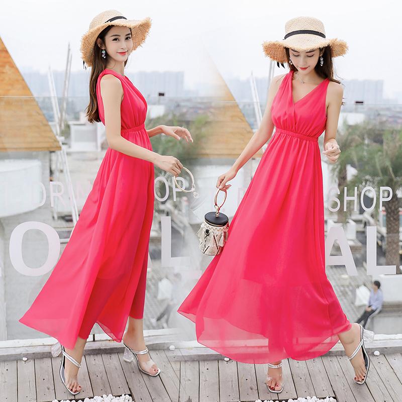 波西米亚海边沙滩裙夏季度假长裙女性感双V领纯色显瘦雪纺连衣裙