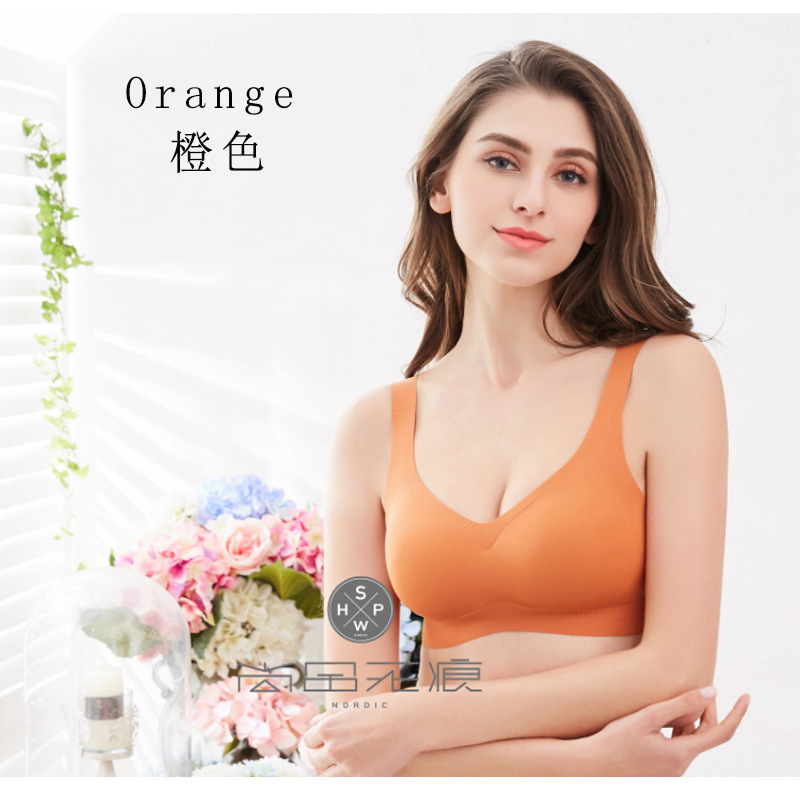 Original authentic double layer Shangpin no trace comfort 4th generation Sleep Bra deep V gather yoga sports underwear female 6098