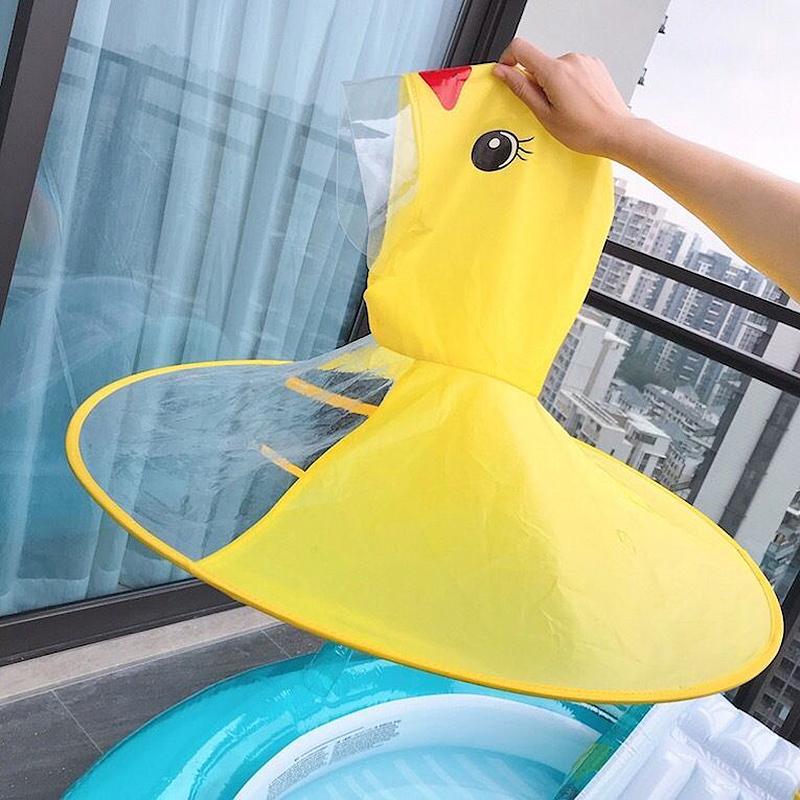 儿童网红神器飞碟雨衣帽女童小黄鸭斗篷式雨披宝宝雨具男孩幼儿园