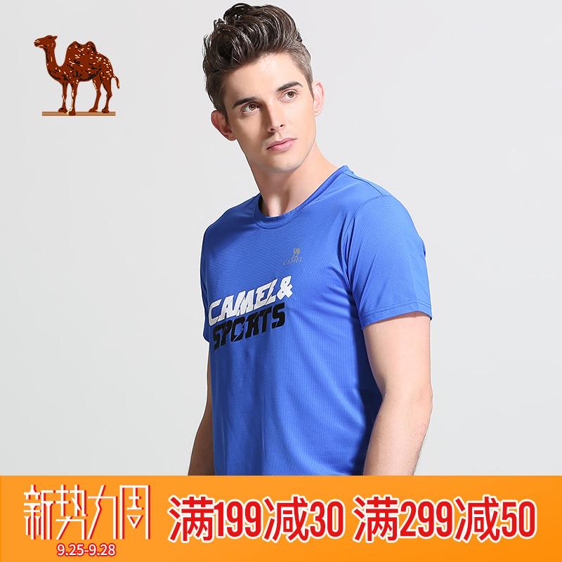 骆驼运动T恤男款圆领吸湿舒适速干衣运动跑步健身字母男士短袖衫