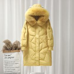 修身显瘦气质小个子大毛领羽绒服女中长款2019冬装新款五角星外套
