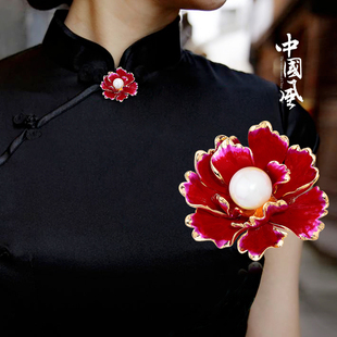 中国风富贵牡丹花大小胸针女大衣旗袍胸花领针开衫披肩扣一字别针