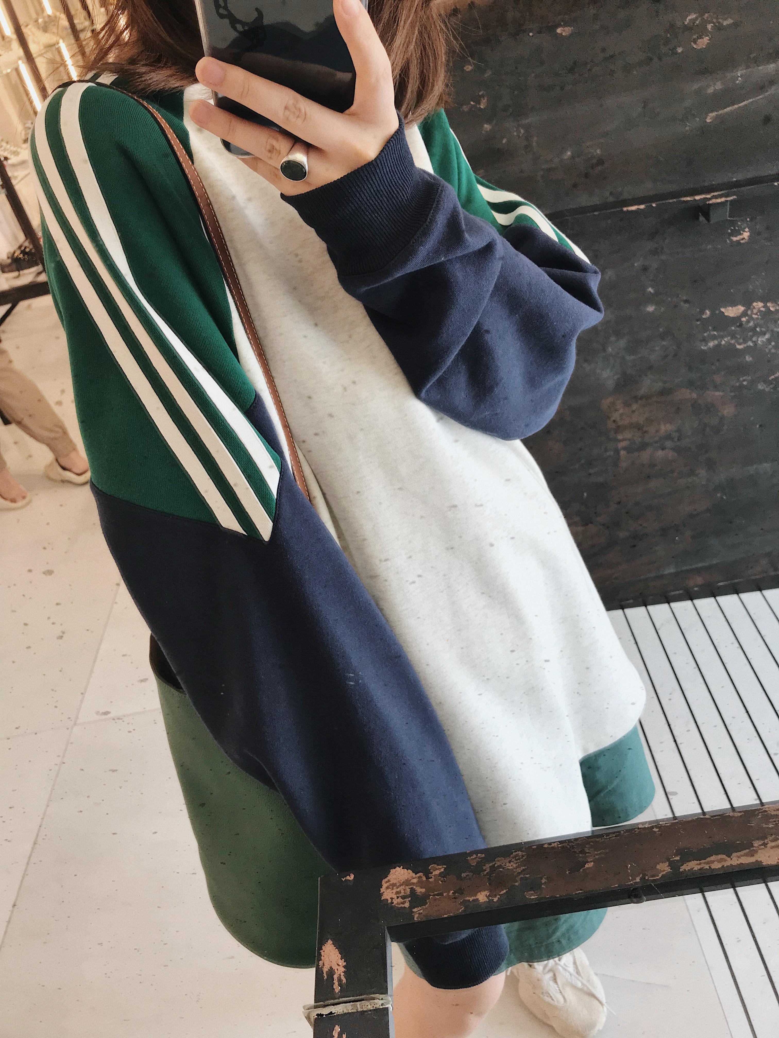 2018新款港味拼色插肩袖套头卫衣女春秋长袖韩版宽松连帽上衣外套