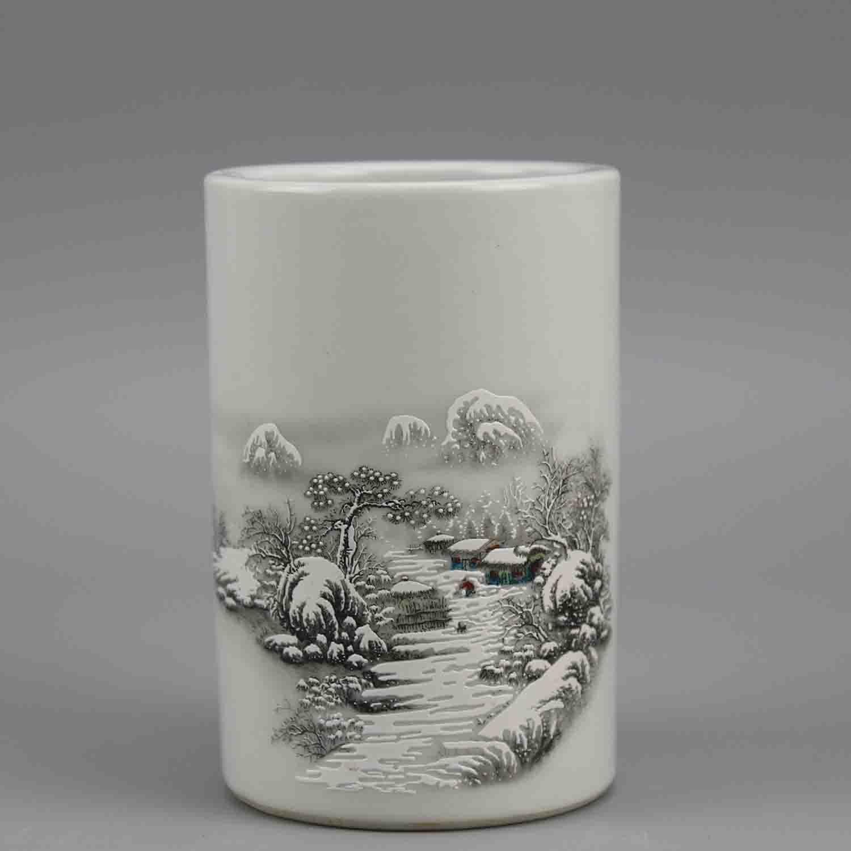 Ретро провинция цзянси фарфор промышленность компания порошок цвет снег лицо ручей гора снег шаблоны небольшой пенал древний фарфор все сад