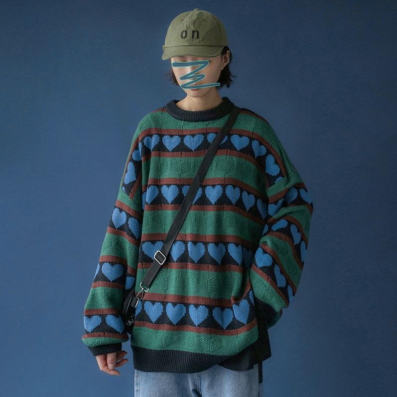 A408-M2177* 秋冬上新韩版针织桃心印花条纹圆领针织毛衫 P75-X88
