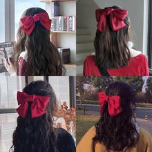 红色大蝴蝶结发夹女后脑勺少女发饰发绳日系网红发卡顶夹头饰夹子