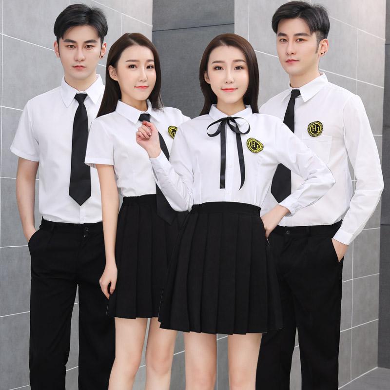 毕业照纯白色衬衫男女通用长袖工作服中性职业装女学院风学生班服