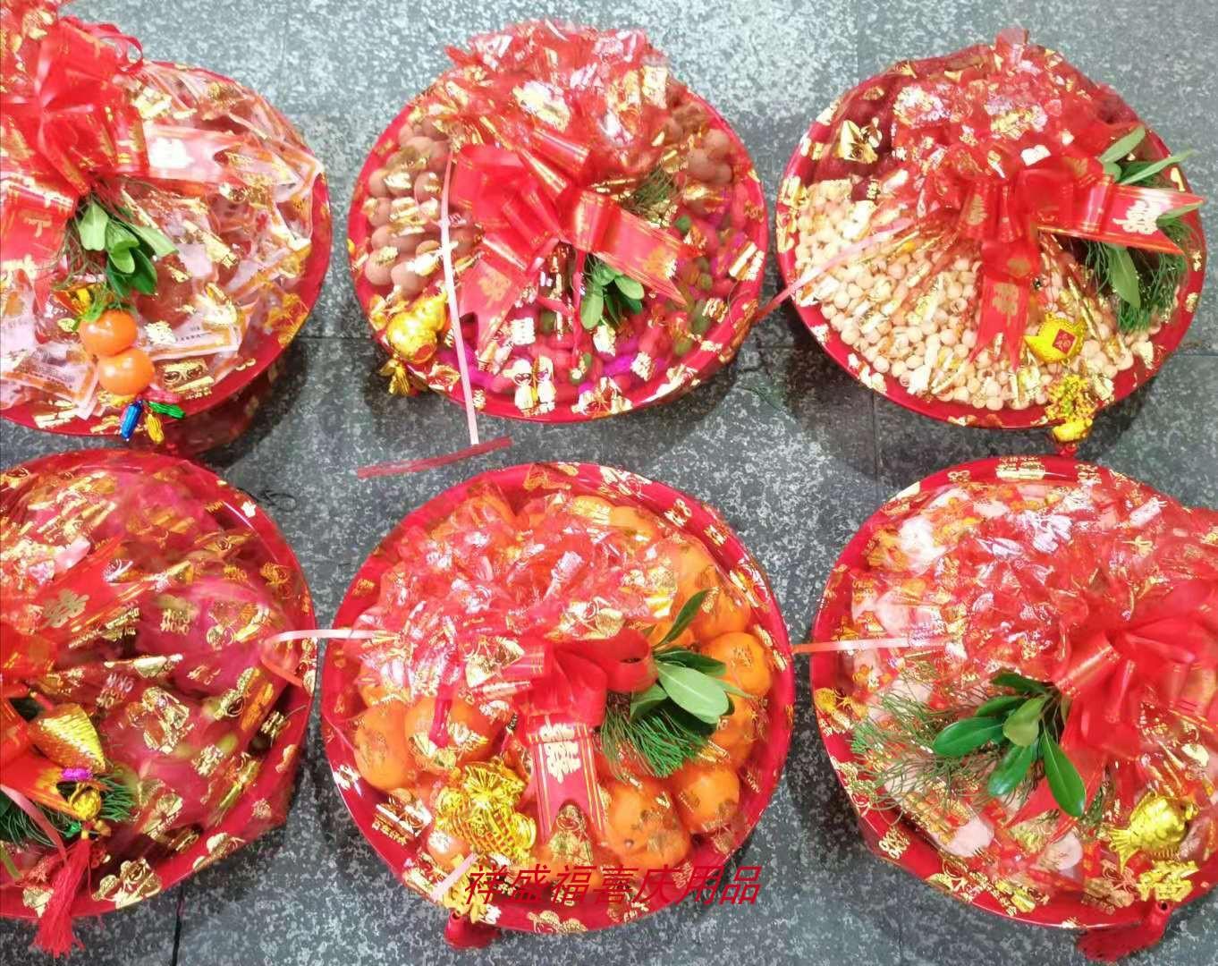 温州订婚习俗红双喜脸盆袋 女方订婚六样袋包脸盆喜袋回门袋