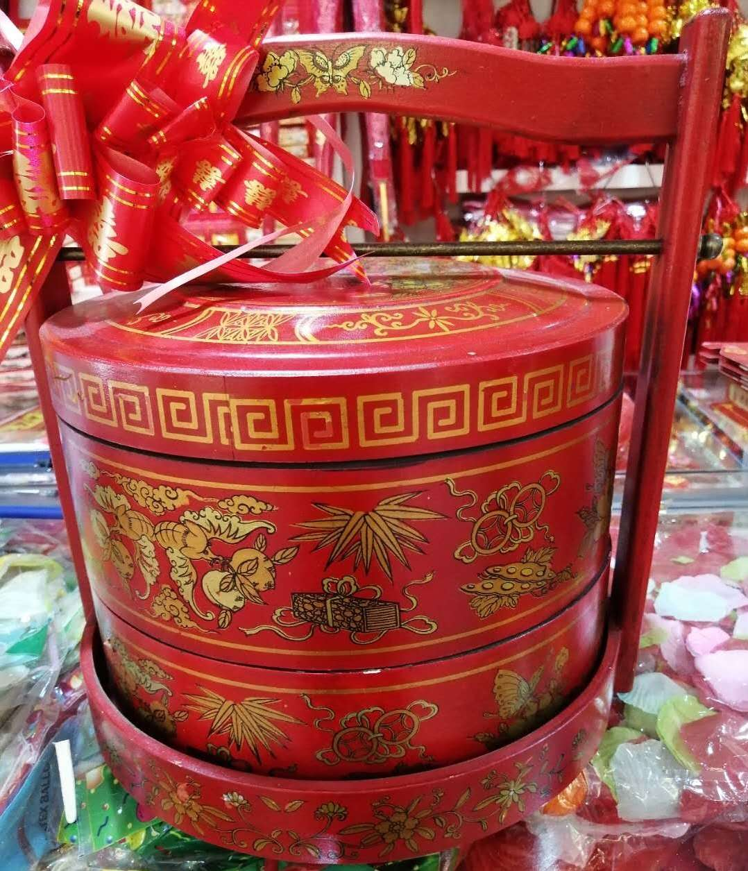 温州订婚习俗 仿古木质手提盒食盒礼盒 订婚六样盒箩筐大六盒鸡笼