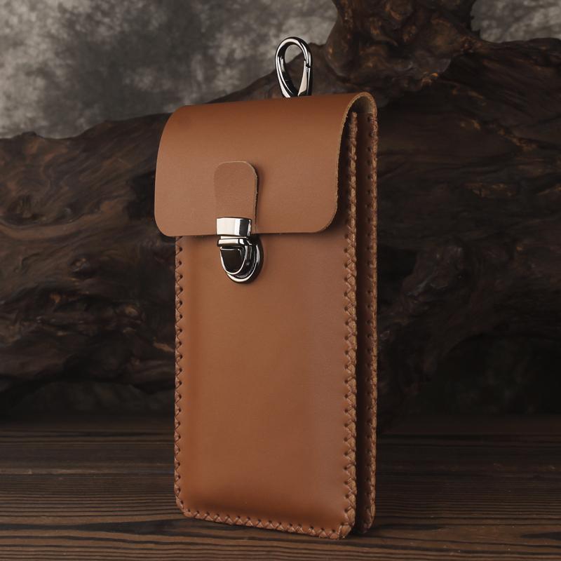 双层手机包男穿皮带腰包头层牛皮纯手工超薄6.5寸6.7寸大屏手机套