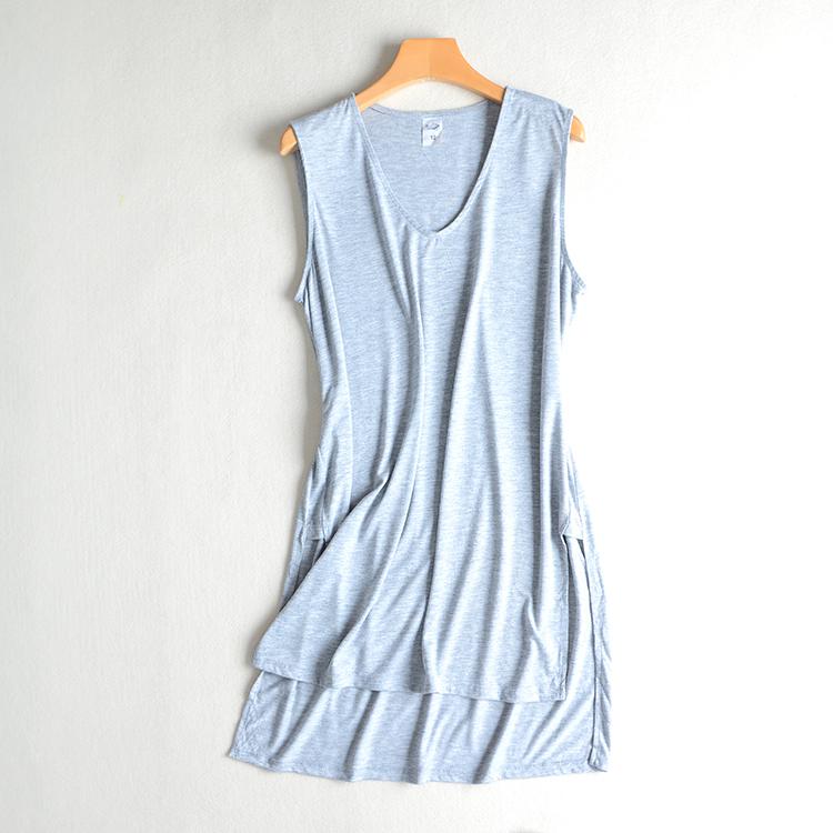夏季新品大码女装针织弹力V领无袖T恤中长薄背心开叉打底裙D31-1