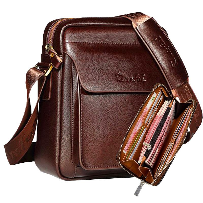 Zunfan mens bag mens Single Shoulder Messenger Bag cowhide large capacity business leisure Mini Bag Backpack fashion bag