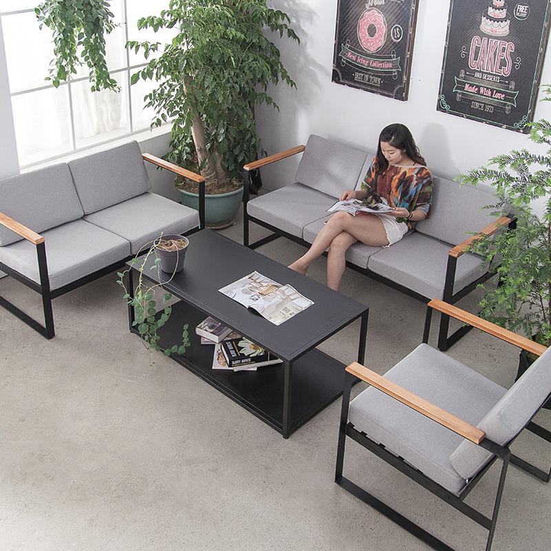 北欧loft工业风复古做旧服装店工作室个性创意时尚单人 铁艺沙发