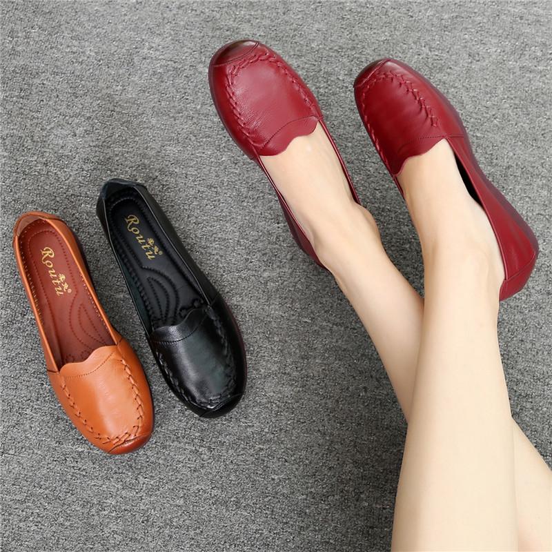 (用1元券)秋季新款妈妈鞋真皮软底舒适皮鞋