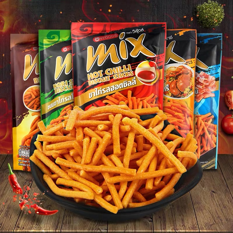 Snacks imported from Thailand: vfoods mix crispy chips 75g * 6 bags of spicy net red shrimp chips puffed snack chips