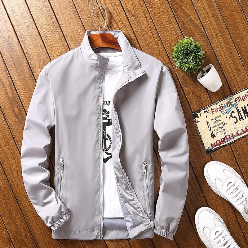 Spring mens jacket work clothes class clothes custom student coat stand collar trench coat logo mens and womens sports coat