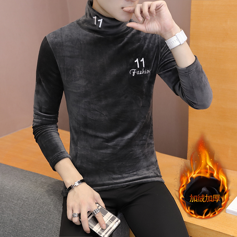 Double face velvet high neck T-shirt for mens slim fit and plush thickened long neck bottoming shirt with plush warmth and T-shirt for autumn