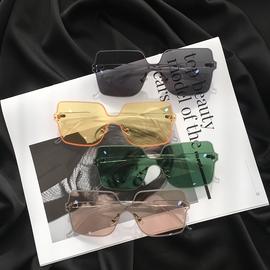 新款韩版复古无边框墨镜女ins网红素颜大框显瘦太阳镜绿色ulzzang