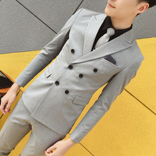 韩版修身双排扣西服套装男休闲职业正装帅气新郎礼服伴郎小西装潮