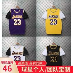 篮球服套装男bf风女学生假两件湖人詹姆斯23号科比尼克杨短袖球衣