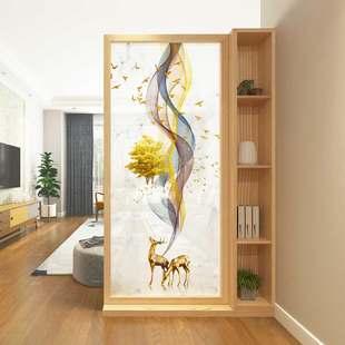 北欧屏风柜 门厅实木置物架客厅简约现代入户双面隔断柜玄关 座屏