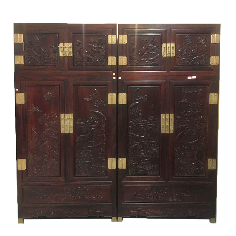 Factory direct selling mahogany furniture Barry yellow sandalwood top cabinet bedroom storage wardrobe solid wood economic storage cabinet