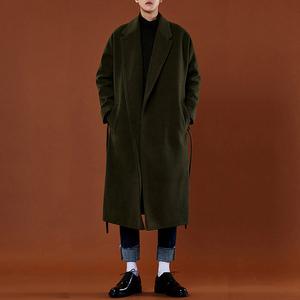冬季中長款風衣男韓版過膝超長青年加厚呢子外套男士英倫毛呢大衣