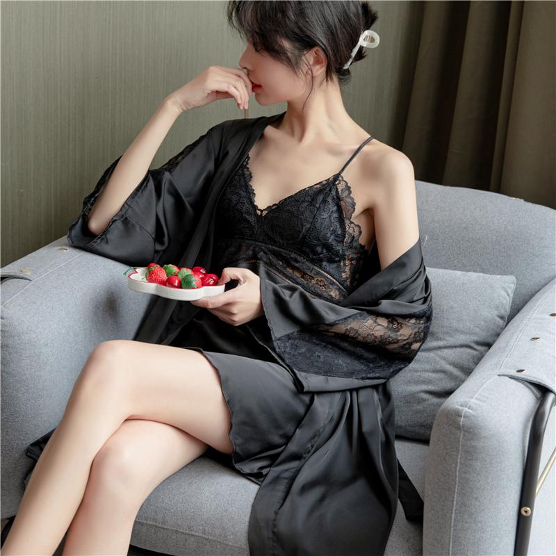 芬达 缎面雪纺 带胸垫两件套睡衣女装蕾丝花边家居服2197-2#