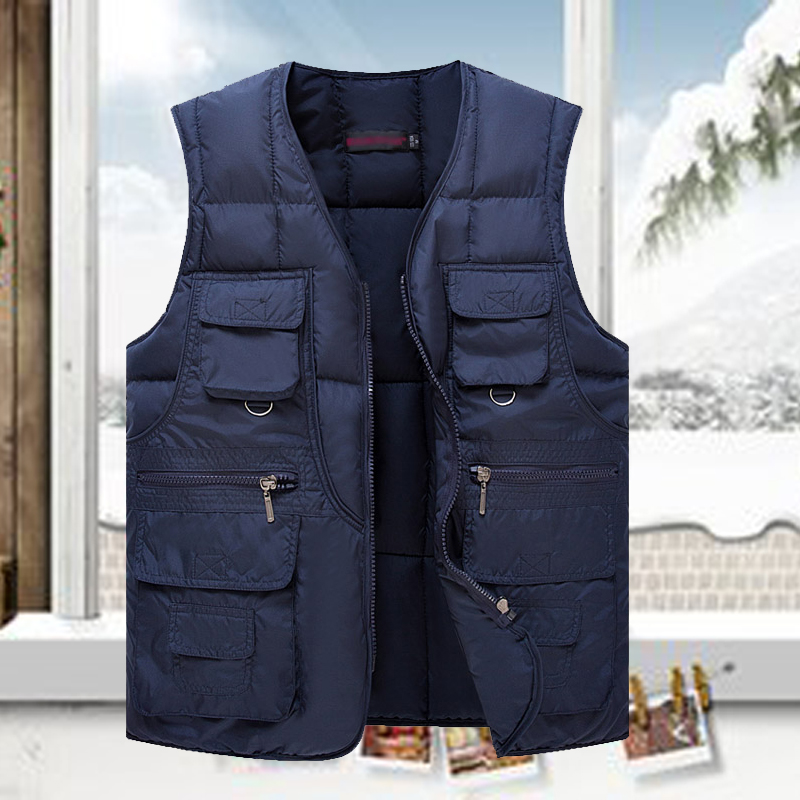 Autumn and winter clothing for middle-aged and old mens large pocket vest with down cotton warm vest