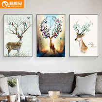 堆积装饰画8D客厅新中式装饰画现代沙发背景墙画北欧风格三联画