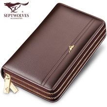 Seven Wolves Men's Handbags Genuine Leather Handbags Men's Large Capacity Handbags Soft Leather Recreational Wallet Men's Chao Brand