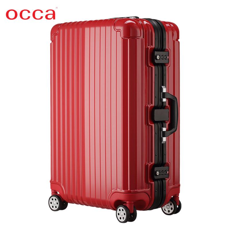 OCCA新款高端纯PC红色拉杆箱女密码锁扣亮面旅行箱商务耐磨行李箱(非品牌)