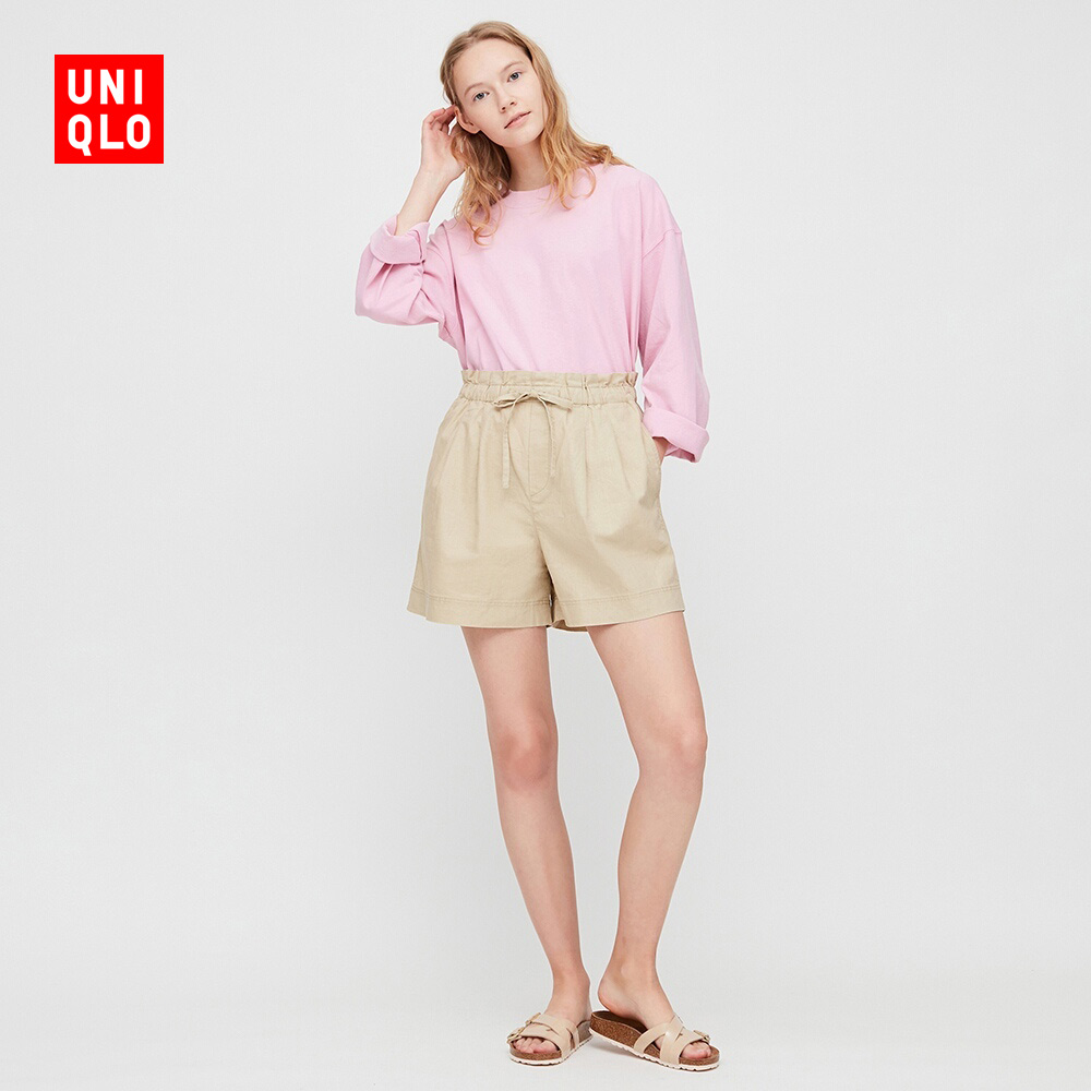 Women's linen and cotton leisure shorts 424951 UNIQLO